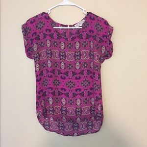Pink rose Aztec styled blouse